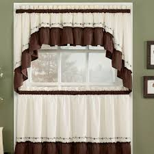 Window Art Tier Curtains And Valances by Kitchen Intriguing White And Brown Modern Kitchen Window Curtain