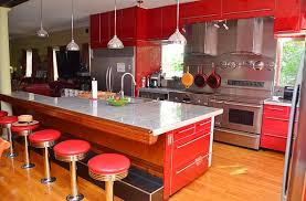 View In Gallery Brilliant Red Kitchen With Midcentury Styling