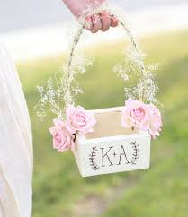 Personalized Rustic Chic Flower Girl Basket Paper Roses Babys Breath Barn Wedding NEW 2014 Design By Morgann Hill Designs