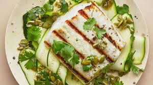 Unsalted Pumpkin Seeds Recipe by Grilled Halibut And Summer Squash Recipe Bon Appetit