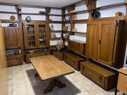 wohnzimmerschrankwand in eiche echtholz in bestem zustand