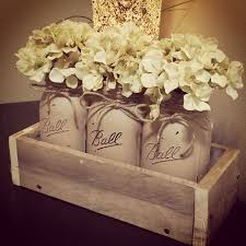 Painted Mason Jar Decor Centerpiece Floral Jars Rustic