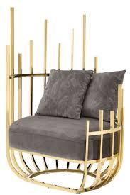casa padrino designer sessel linksseitig mit 2 kissen grau gold 91 5 x 75 x h 136 5 cm designer wohnzimmer möbel luxus qualität
