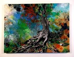 Gnarled Tree Roots Abstract Mixed Media On Canvas