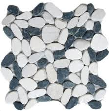 sliced pebble tile white and black 12 x12 rustic wall and
