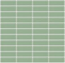 glass tile 1x3 inch light green glass subway tile stacked