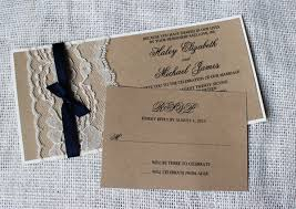 Rustic Wedding Invitation Set Country Kraft Paper Cards Printable Ribbon And Lace Custom Made