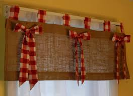 Burlap Tab Valance With Red And White Check Tabs By CraftyAmour Kitchen Love This But Maybe Maroon Depending On The Color Of Bows