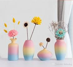 großhandel creativ regenbogen keramik vase dekoration heim wohnzimmer esstisch dekorative kunst vase dekoration geschenk babydog 22 76 auf