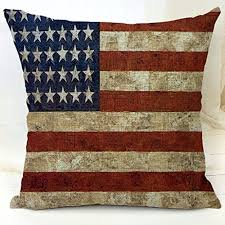 YFINE Old World Retro Country Rustic Style Cotton Linen Home Decorative Throw Pillow Cover Cushion Case The American Flag A 18 X18 45 CM X
