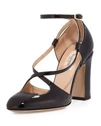 valentino crisscross patent high heel pump in black lyst