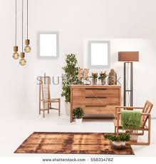 Natural Wood Furniture White Wall Decor Modern Lamp And Frame