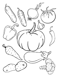 Printable Vegetables Coloring Sheet