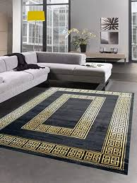 carpetia teppich wohnzimmer mit bordüre im mäander muster schwarz gold größe 80x150 cm