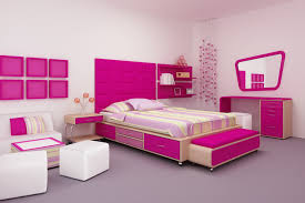 Bright Pink Girls Room With Striped Bedspread And Decor