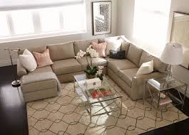 furniture ethan allen sectional sofas in brown with pattern rug