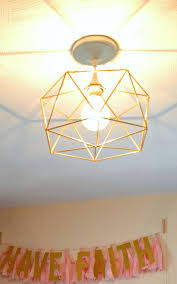 DIY Himmeli Inspired Geometric Light Fixture Over Office