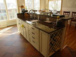 Wonderful White Finished Large Kitchen Island With Sink Added Granite Countertop On Brown Diagonal Ceramic Floors As Inspiring Open Designs Ideas