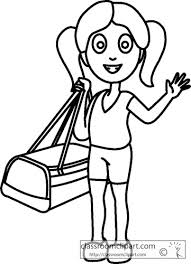 Girl Holding Travel Bag Outline Size 76 Kb From People