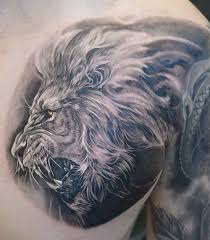 A Lion Roars With Strength In This New School Style Tattoo The Fades Into Grey Shaded Background Atop Right Pectoral Muscle Perfect