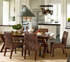 Classic Dining Room Design With Toscana Extending Rectangular Kitchen Table Pottery Barn Seagrass Chairs And Brown Natural Fibre Sisal Area Rug