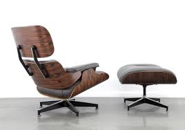 Eames lounge chair ottoman in brown grey leather & rosewood