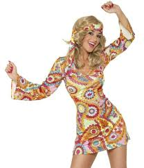 70s Womens Retro Paisley Hippy Costume Close Up
