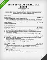 Construction Resume Sample Entry Level
