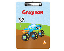 100 Monster Truck For Kids Personalized Clipboard Dirt Track Flag Cone