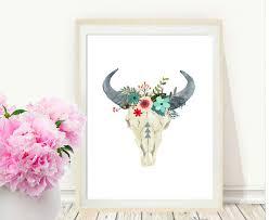Decorated Cow Skulls Australia by Bull Skull Printable Art Cow Skull Tribal Art Boho Wall