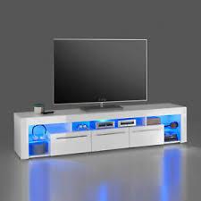 details zu tv lowboard goal 2 weiß hochglanz wohnzimmer kommode tv unterteil led