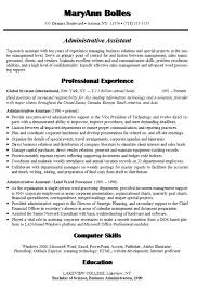 Sample Resume For Administrative Assistant