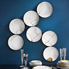 Table Plates Hanged As A Decoration Kintsugi Techique With Gold