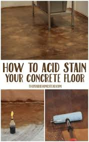 how i stained my concrete floor to look like tile with a 9