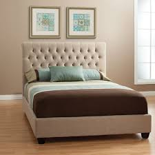 chloe fabric upholstered bed cal king bed in tan linen