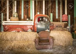 Background Interior Design Of An Old Country House Decorating Brown Sofa And Red Pickup Inside