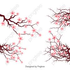 Transparent Vector Pink Japanese Elements Cherry Blossom Branches
