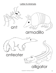 Click For Letter A Animals Coloring Page