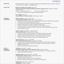Middle School Teacher Resume Sample Resume For High School Biology
