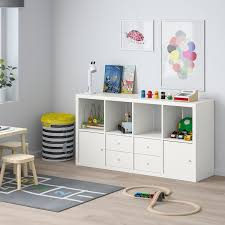 kallax shelving unit with 4 inserts white ikea
