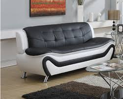 100 Modern Living Room Couches Frady Black And White Faux Leather Sofa Walmartcom