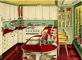 Fabulous 1950s Kitchen In Red And White With Breakfast Bar