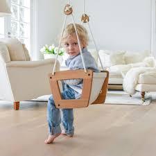 lillagunga baby schaukel aus eichenholz mit ledersitz ab 3 monaten inkl seile und deckenhaken in weiß