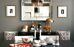 Crazy Beautiful Dining Room Design With Gray Walls Gold Frames Flanking Beveled Mirror Above Ebony Stained Modern Buffet Cabinet David Hicks La Fiorentina