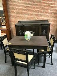 details zu esszimmer garnitur aus eiche 4 stühle 1x tisch 1x anrichte dunkelbraun