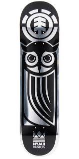 nyjah huston black owl skateboard deck 7 7 we love deck art