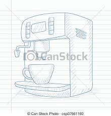 Coffee Maker With Cup Hand Drawn On Notebook Paper In Line Background Vector Sketch Illustration