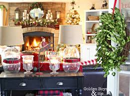 Rustic Family Room With Stone Fireplace And Lodge Style Christmas Decor Goldenboysandme