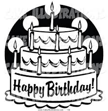 black and white tiered birthday cake clipart