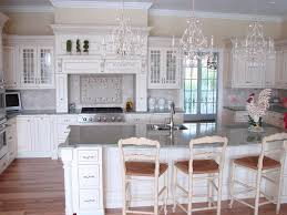 KitchenWhite French Country Kitchen Style With 3 White Chandelier Idea 25 Modern